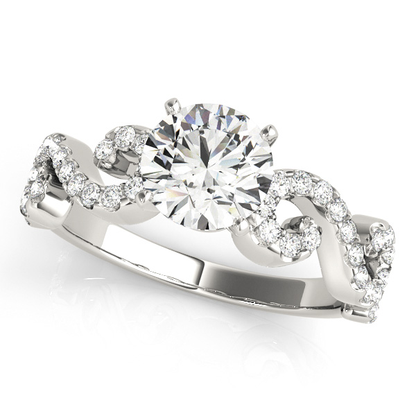 Twist Side Stone Round Engagement Ring