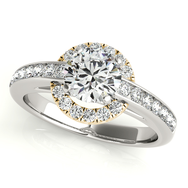 Unusual Halo Engagement Ring with Channel Set Side Stones