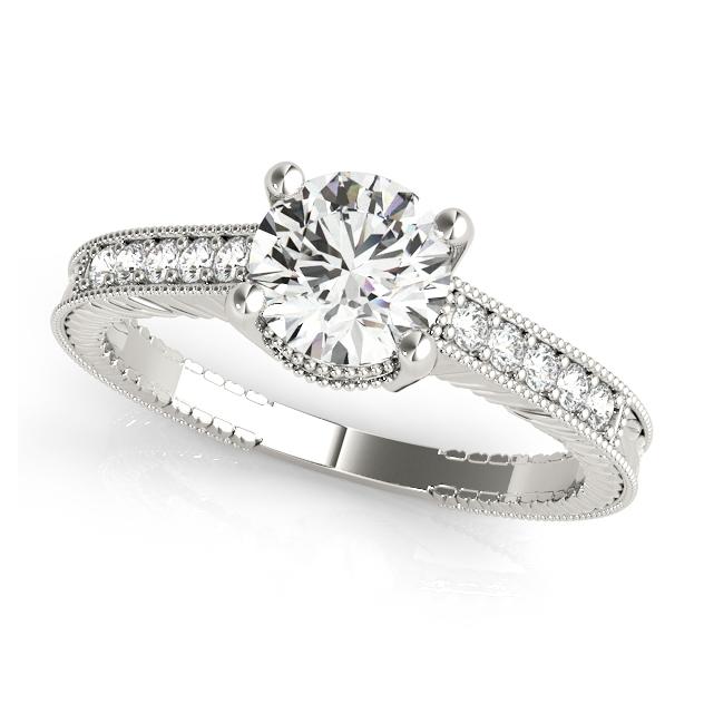 elegant side stone vintage engagement ring