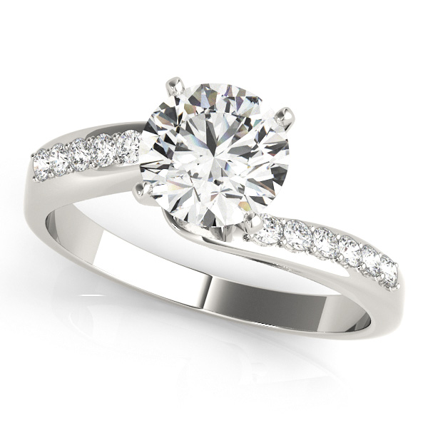 Elegant Round Cut Side Stone Bypass Engagement Ring