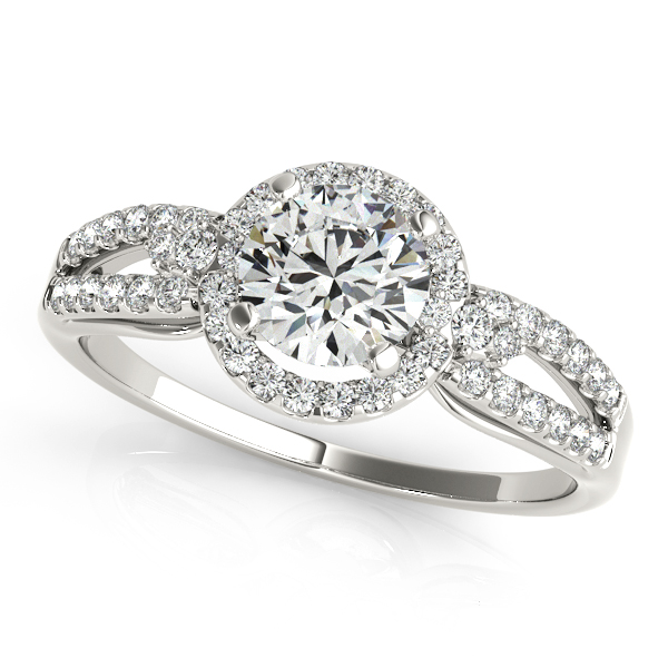Elegant Split Shank Engagement Ring with Round Halo