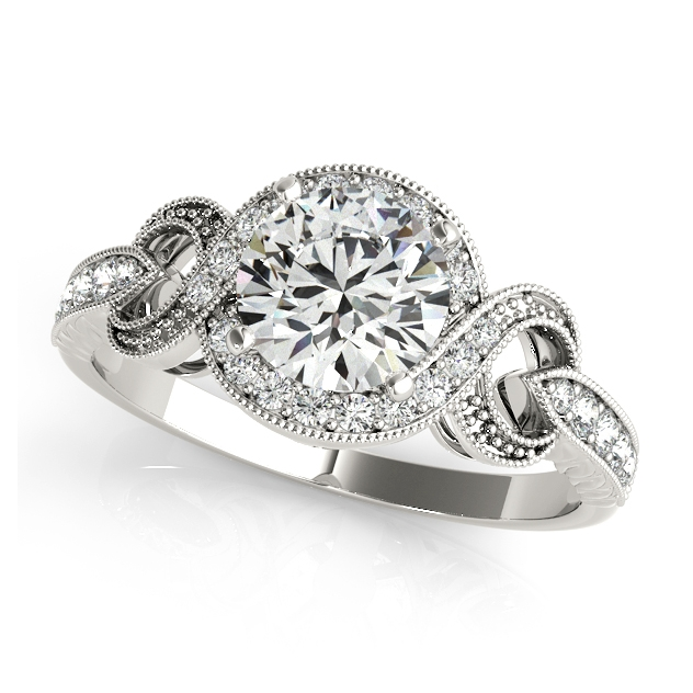 Dressy Infinity Diamond Engagement Ring w/ Round Cut Halo