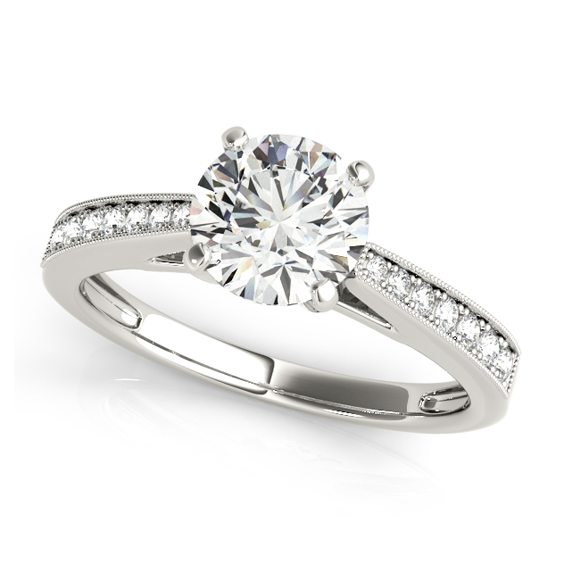 Elegant Four-Prong Engagement Ring w/ Round Cut Diamonds