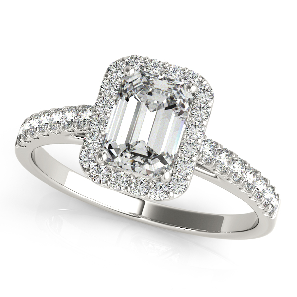 Emerald Cut Engagement Ring in 14k, 18k Gold or Platinum