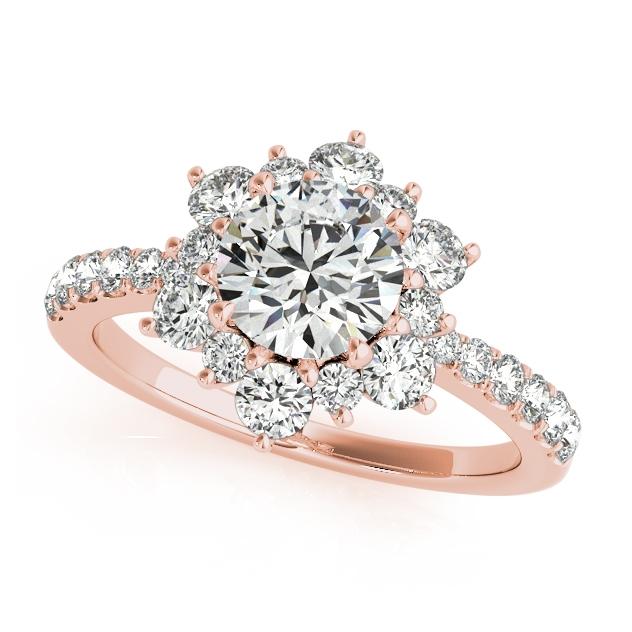 Flower Halo Diamond Engagement Ring Rose Gold