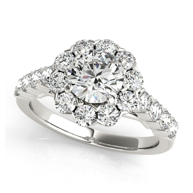 One Carat Floral Halo Engagement Ring Round Cut