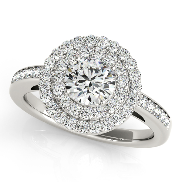 Exquisite Duet Halo Round Side Stone Engagement Ring