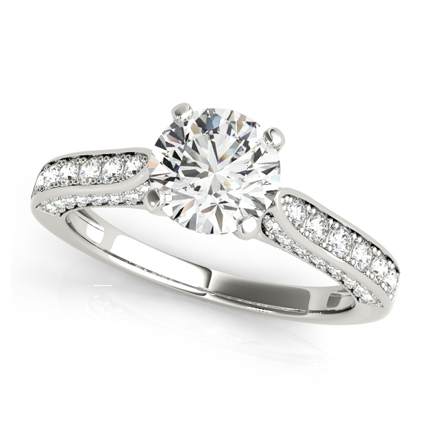 Gorgeous Side Stone Engagement Ring Setting w/ Prongs