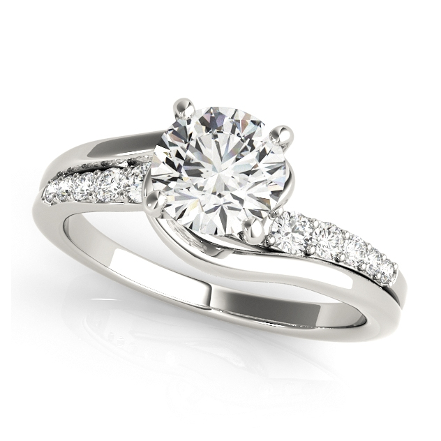Avant-Garde Split Shank Side Stone Bypass Engagement Ring