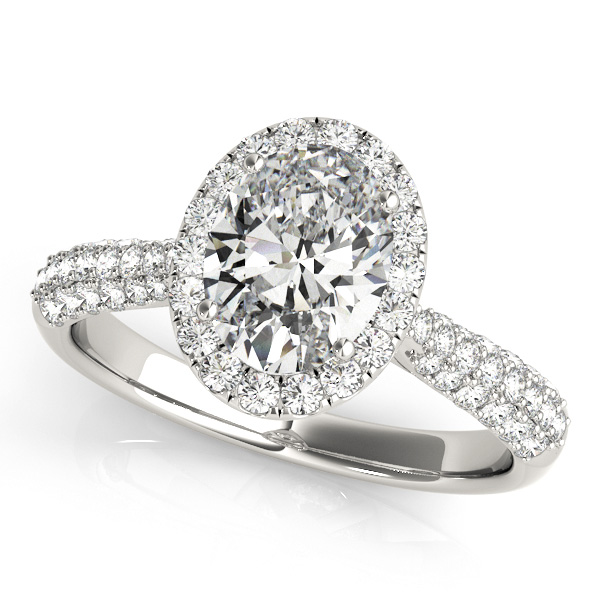 Gorgeous Oval Cut Halo Engagement Ring with Side Stones