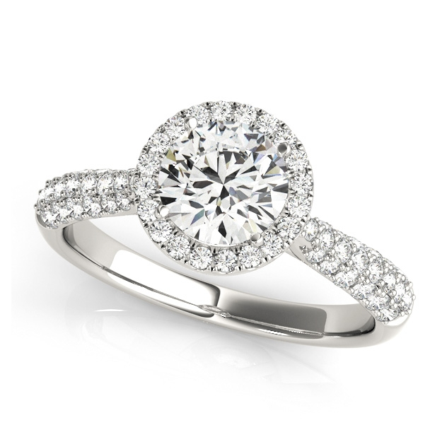 Classic Halo Side Stone Pave Ring in 10k 14k Gold or Silver