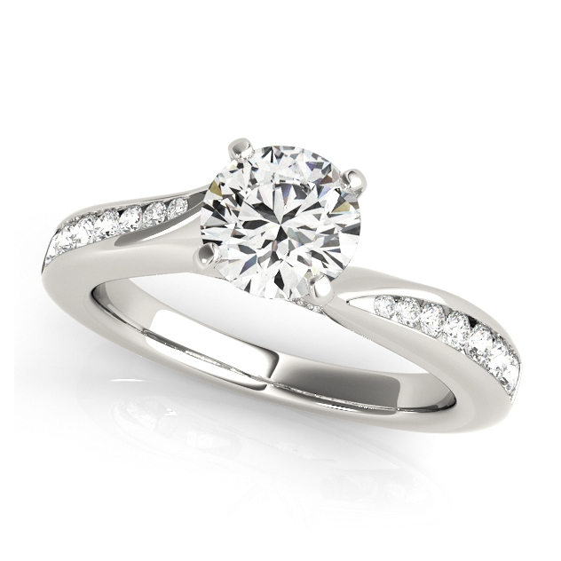 Chic Solitaire Side Stone Engagement Ring w/ Prong Setting