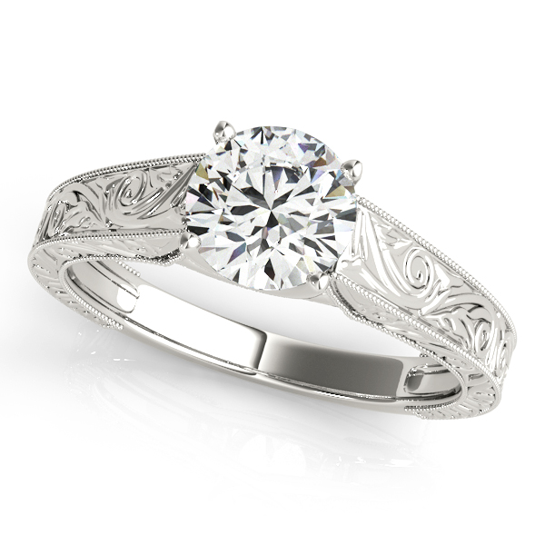 Vintage Solitaire Diamond Engagement Ring in White Gold