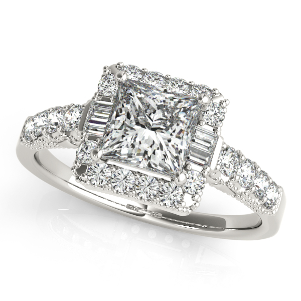 Princess Cut Halo Engagement Ring with Side Stones