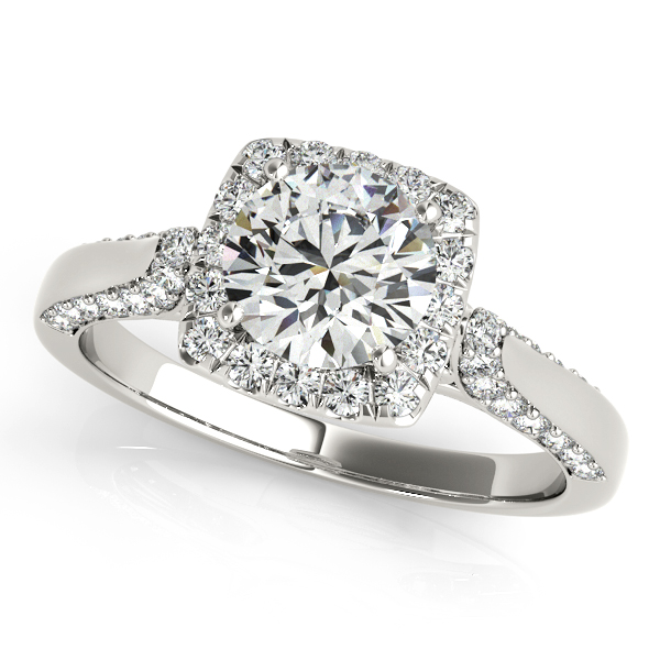 Excellent Square Halo Engagement Ring