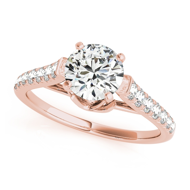 Prong Engagement Ring w/ Round Cut Diamond Setting