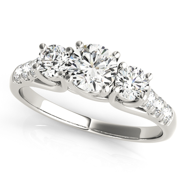 Three Stone Side Stone Engagement Ring Trellis Set Diamonds