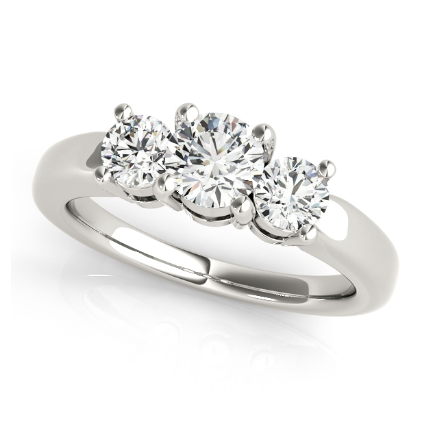 Three Stone Engagement Ring w/ Round Cut Diamonds