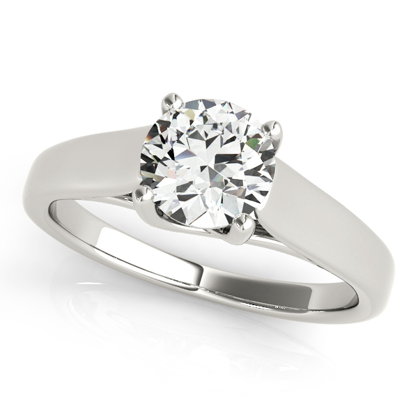 Prong Solitaire Engagement Ring - Trellis Setting & Round Cut Center