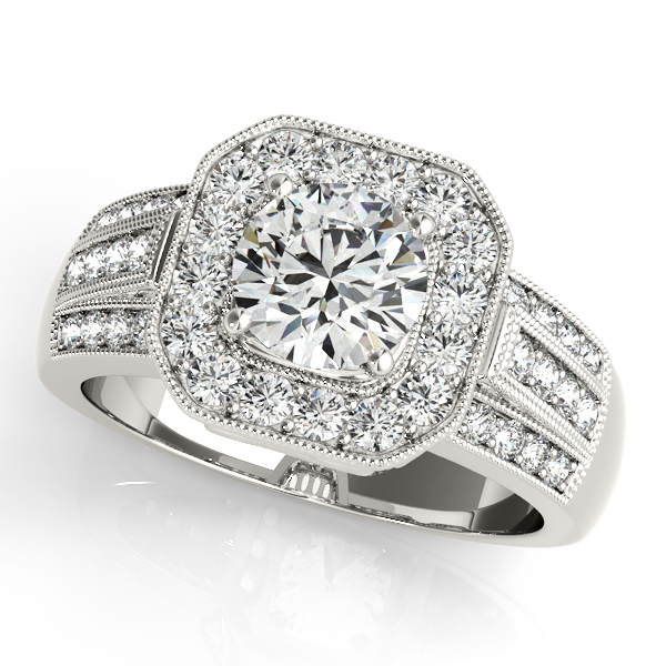 Extravagant Square Halo Engagement Ring w/ Wide Shank