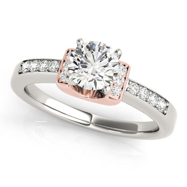 Lavish Two Tone Side Stone Engagement Ring with Scarf
