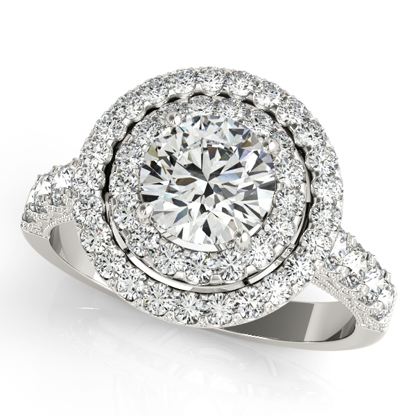 Extravagant Duet Halo Filigree Side Stone Engagement Ring