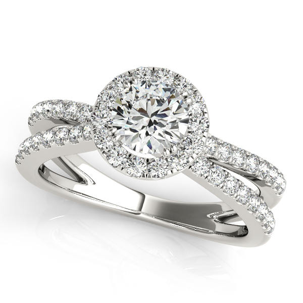 Unequaled Split Shank Engagement Ring Side Stones & Halo