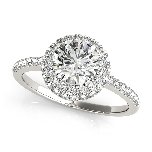 Original Side Stone Duet Halo Round Engagement Ring