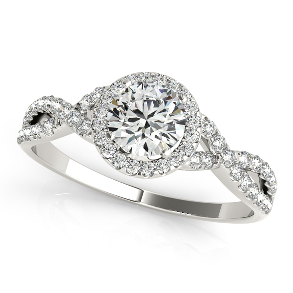 Exquisite Halo Engagement Ring Infinity Shank & Side Stones