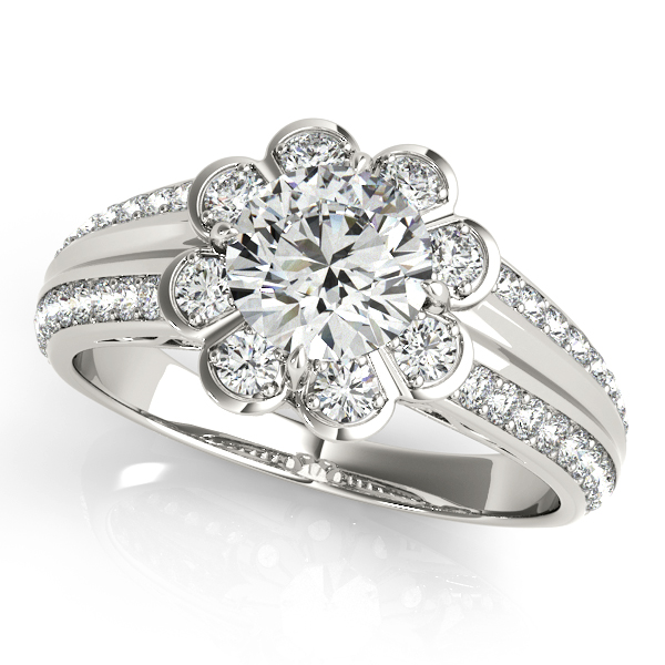 Unique Round Cut Duet Side Stone Flower Halo Engagement Ring