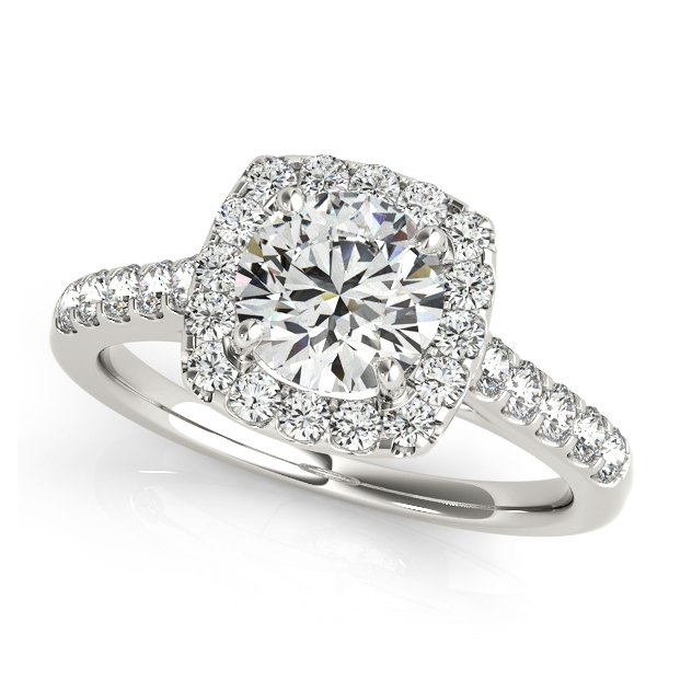 Fashionable Halo Engagement Ring Round Cut