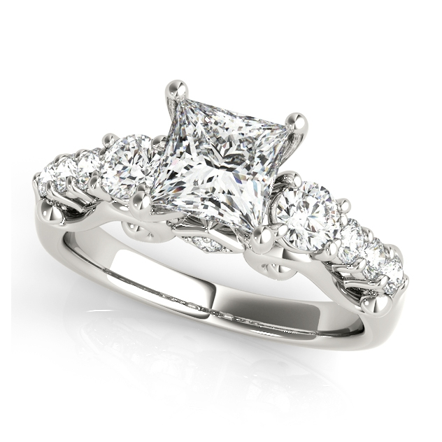 Princess Cut Three Stone Engagement Ring with Round Accents