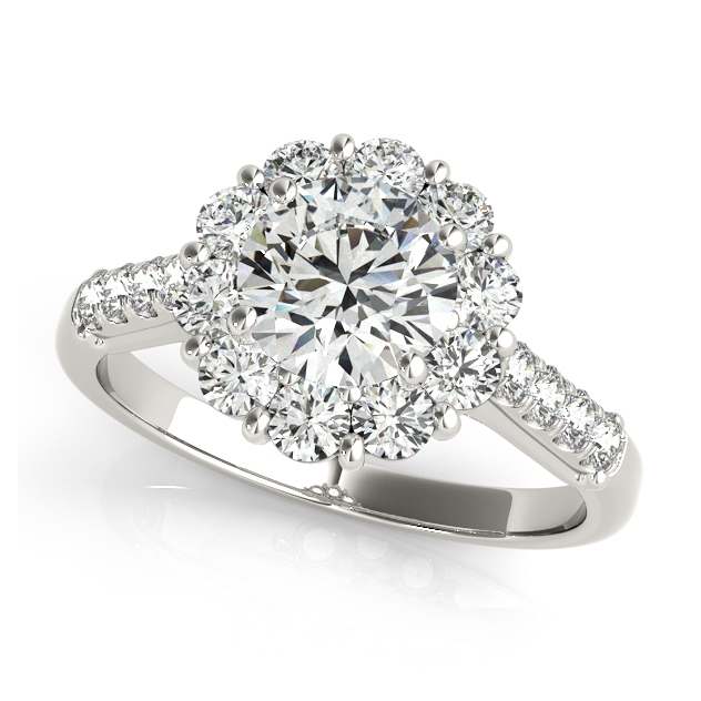 Classic Side Stone Flower Halo Engagement Ring Set For Cheap