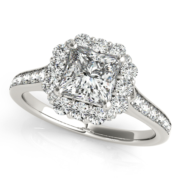 Peculiar Princess Cut Engagement Ring Halo & Peculiar Accents