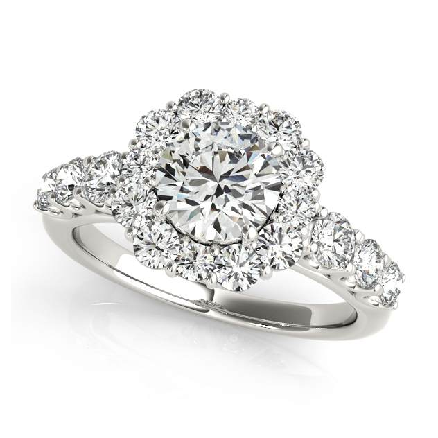 One Carat Floral Halo Side Stone Engagement Ring