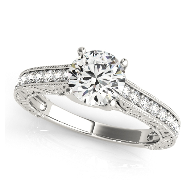 Exclusive Trellis Vintage Engagement Ring White Gold