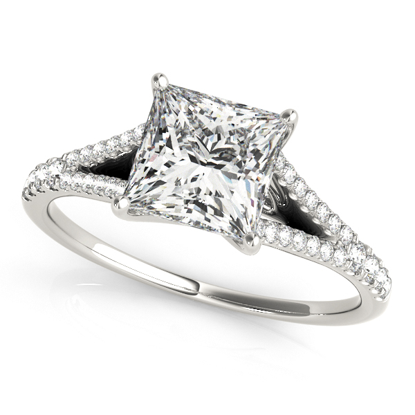 Interesting Trellis Princess Cut Engagement Ring