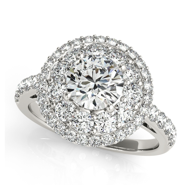 Enormous Double Halo Engagement Ring with Round Side Stones