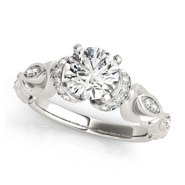 Peculiar Side Stone Accent Stone Engagement Ring