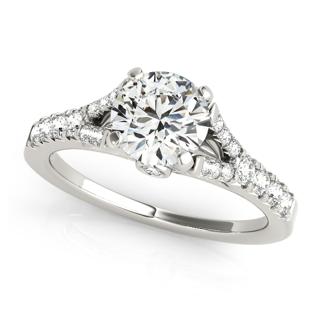 V Shaped Side Stone Engagement Ring Bezel Accents