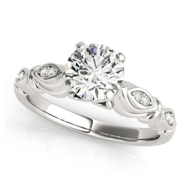 Different Antique Side Stone Engagement Ring - Curved Infinity Shank