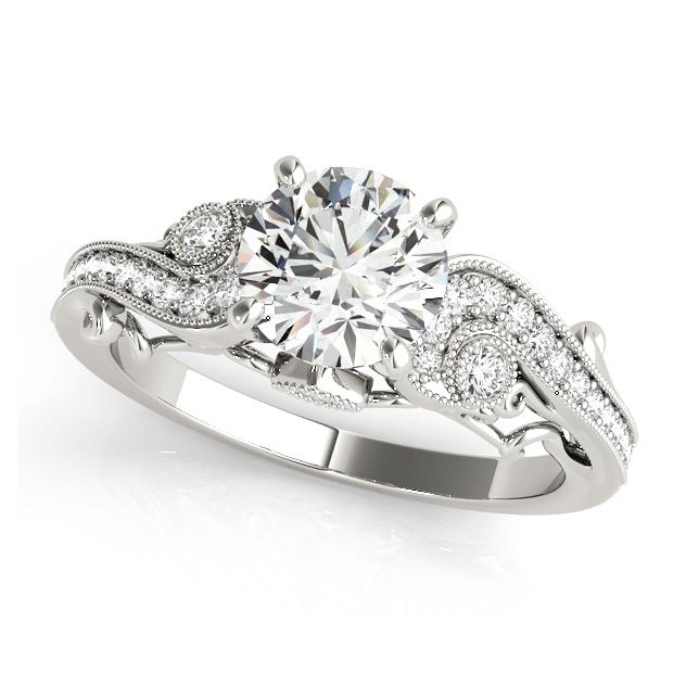 Distinguished Side Stone Antique Filigree Engagement Ring
