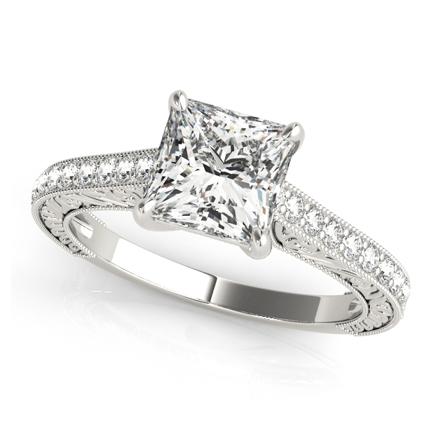Trellis Vintage Princess Cut Engagement Ring Side Stones & Filigree