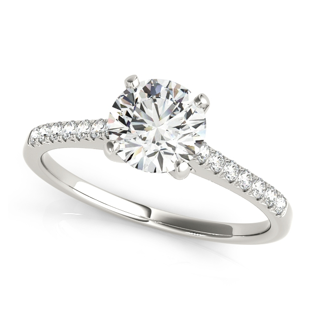 Thin Shank Side Stone Round Cut Engagement Ring