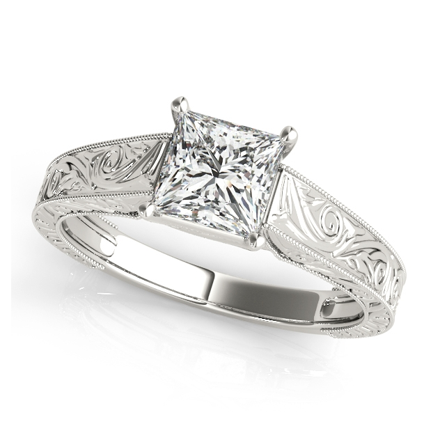 Exquisite Princess Cut Vintage Trellis Engagement Ring