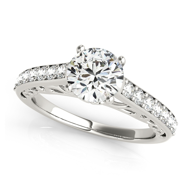 Nice Side Stone Engagement Ring With Vintage Shank Bridge