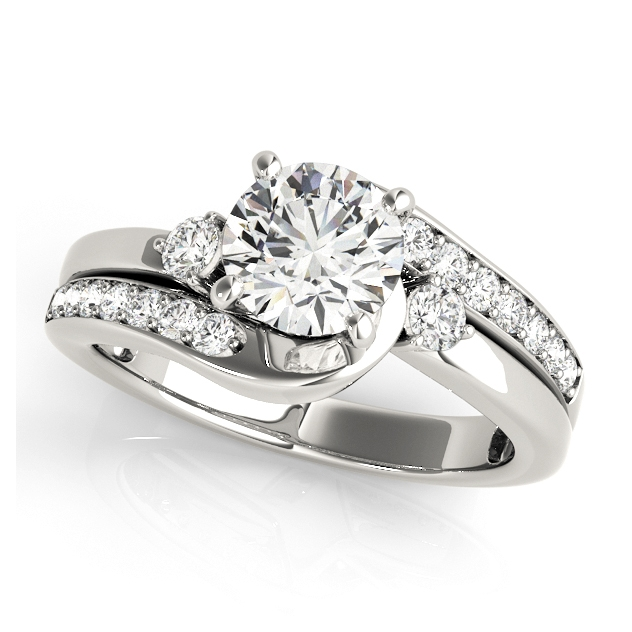 side stone accent bypass engagement ring split shank - Wedding Rings Under 500
