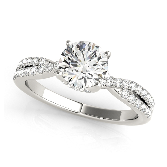 Unusual Side Stone Engagement Ring with Accent Diamonds