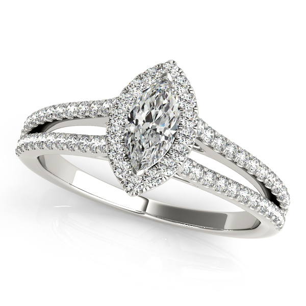 Romantic Heart Filigree Engagement Ring with Marquise Halo