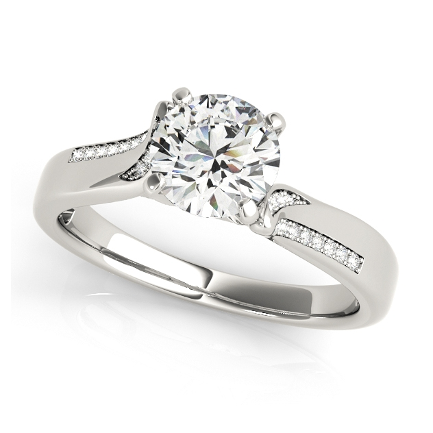 Exclusive Italian Design Engagement Ring with Accents